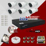 Kit Cftv 6 Câmeras AHD Bullet 720p Dvr 8 Canais Luxvision 5 em 1 + HD 2TB