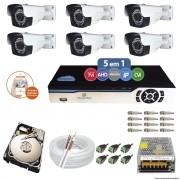 Kit Cftv 6 Câmeras AHD-M 720p 3,6mm DVR 8 Canais Newprotec + HD 500GB