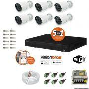 Kit Cftv 6 Câmeras AHD-M 720P 3,6MM Dvr 4 Canais Visionbras XVR 720p + ACESSORIOS