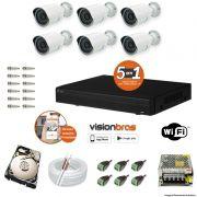 Kit Cftv 6 Câmeras AHD-M 720P 3,6MM Dvr 4 Canais Visionbras XVR 720p + HD 1 TB