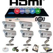 Kit Cftv 6 Câmeras Bullet CCD Infravermelho 3,6MM 1200L Dvr 8 Canais Newprotec + HD 250GB