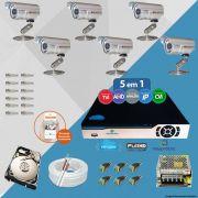 Kit Cftv 6 Câmeras Bullet CCD Infravermelho 3,6MM 1200L Dvr 8 Canais Newprotec + HD 500GB