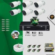 Kit Cftv 6 Câmeras Bullet Ir Cut 1500L Dvr 8 Canais Intelbras MHDX + ACESSÓRIOS