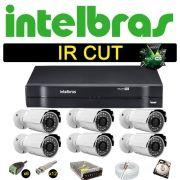 Kit Cftv 6 Câmeras Bullet Ir Cut 1500L Dvr 8 Canais Intelbras MHDX + HD 250 GB