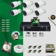 Kit Cftv 6 Câmeras Bullet Ir Cut 1500L Dvr 8 Canais Intelbras MHDX + HD 320 GB