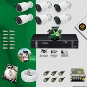 Kit Cftv 6 Câmeras Bullet Ir Cut 1500L Dvr 8 Canais Intelbras MHDX + HD 500 GB