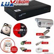 Kit Cftv 6 Câmeras CCD Infravermelho 3,6MM 1200L Dvr 8 Canais Luxvision + HD 320GB