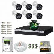 Kit Cftv 6 Câmeras VHD 1220B 1080P 3,6mm DVR Intelbras MHDX 3008 + HD 1TB BARRACUDA