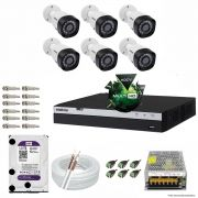Kit Cftv 6 Câmeras VHD 1220B 1080P 3,6mm DVR Intelbras MHDX 3008 + HD 1TB WDP