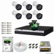 Kit Cftv 6 Câmeras VHD 1220B 1080P 3,6mm DVR Intelbras MHDX 3008 + HD 2TB BARRACUDA