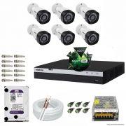 Kit Cftv 6 Câmeras VHD 1220B 1080P 3,6mm DVR Intelbras MHDX 3008 + HD 4TB WDP
