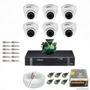 Kit Cftv 6 Câmeras VHD 3120D 720P 2,8mm DVR Intelbras MHDX 1008 + ACESSORIOS