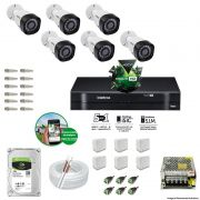 Kit Cftv 6 Câmeras VHD 3130B 720P 3,6mm DVR Intelbras MHDX 1008 + HD 1 TB Barracuda