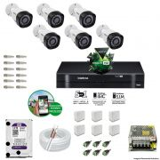 Kit Cftv 6 Câmeras VHD 3130B 720P 3,6mm DVR Intelbras MHDX 1008 + HD 1 TB WDP