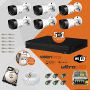 Kit Cftv 6 Câmeras Visionbras Bullet 1MP 720p 2,8MM Dvr 8 Canais Visionbras XVR 1080n + HD 500GB