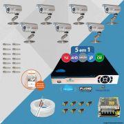 Kit Cftv 7 Câmeras Bullet CCD Infra 3,6MM 1200L Dvr 8 Ch Newprotec + Acessórios