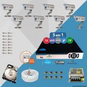 Kit Cftv 8 Câmeras Bullet CCD Infravermelho 3,6MM 1200L Dvr 16Ch Newprotec 5x1+ HD 500 GB