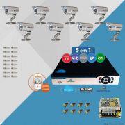 Kit Cftv 8 Câmeras Bullet CCD Infravermelho 3,6MM 1200L Dvr 8 Canais Newprotec 5x1
