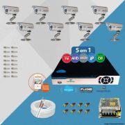 Kit Cftv 8 Câmeras Bullet CCD Infravermelho 3,6MM 1200L Dvr 8 Canais Newprotec 5x1+ Acessórios