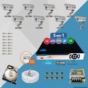 Kit Cftv 8 Câmeras Bullet CCD Infravermelho 3,6MM 1200L Dvr 8 Canais Newprotec 5x1+ HD 1TB