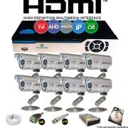 Kit Cftv 8 Câmeras Bullet CCD Infravermelho 3,6MM 1200L Dvr 8Ch Newprotec 5x1+ HD 250 GB