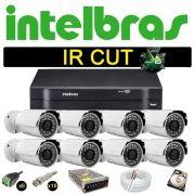Kit Cftv 8 Câmeras Bullet Ir Cut 1500L Dvr 16 Canais Intelbras MHDX + HD 250 GB