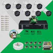 Kit Cftv 8 Câmeras VHD 1010B Bullet 720p Dvr 8 Canais Intelbras MHDX + ACESSÓRIOS