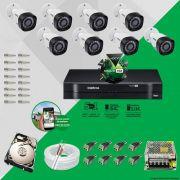 Kit Cftv 8 Câmeras VHD 1120B Bullet 720p Dvr 8 Canais Intelbras MHDX + HD 1TB