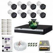 Kit Cftv 8 Câmeras VHD 1220B 1080P 3,6mm DVR Intelbras MHDX 3008 + HD 4TB WDP