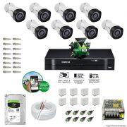 Kit Cftv 8 Câmeras VHD 3130B 720P 3,6mm DVR Intelbras MHDX 1016 + HD 1 TB Barracuda