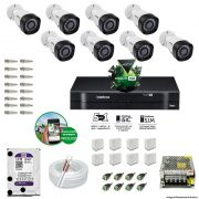 Kit Cftv 8 Câmeras VHD 3130B 720P 3,6mm DVR Intelbras MHDX 1016 + HD 1 TB WDP