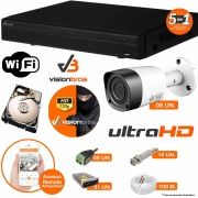 Kit Cftv 8 Câmeras Visionbras Bullet 1MP 720p 2,8MM Dvr 8 Canais Visionbras XVR 1080n + HD 500GB