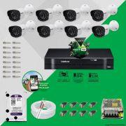 Kit Cftv 8 Câmeras VM 1120B Bullet G4 720p Dvr 8 Canais Intelbras MHDX + HD WDP 1TB