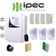 Kit de Alarme Genius Al 4 Residencial IPEC Com 4 Sensores Magnéticos 3 Sensor Infravermelho Sem Fio
