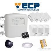 Kit de Alarme Max 4 Residencial Ecp Com 4 Sensores Magnético 3 Sensores Infravermelho S/ Fio C/ Cabo