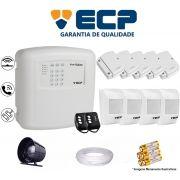 Kit de Alarme Max 4 Residencial Ecp Com 5 Sensores Magnético 4 Sensores Infravermelho S/ Fio C/ Cabo