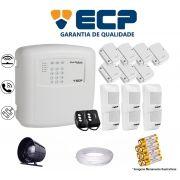 Kit de Alarme Max 4 Residencial Ecp Com 7 Sensores Magnético 6 Sensores Infravermelho S/ Fio C/ Cabo