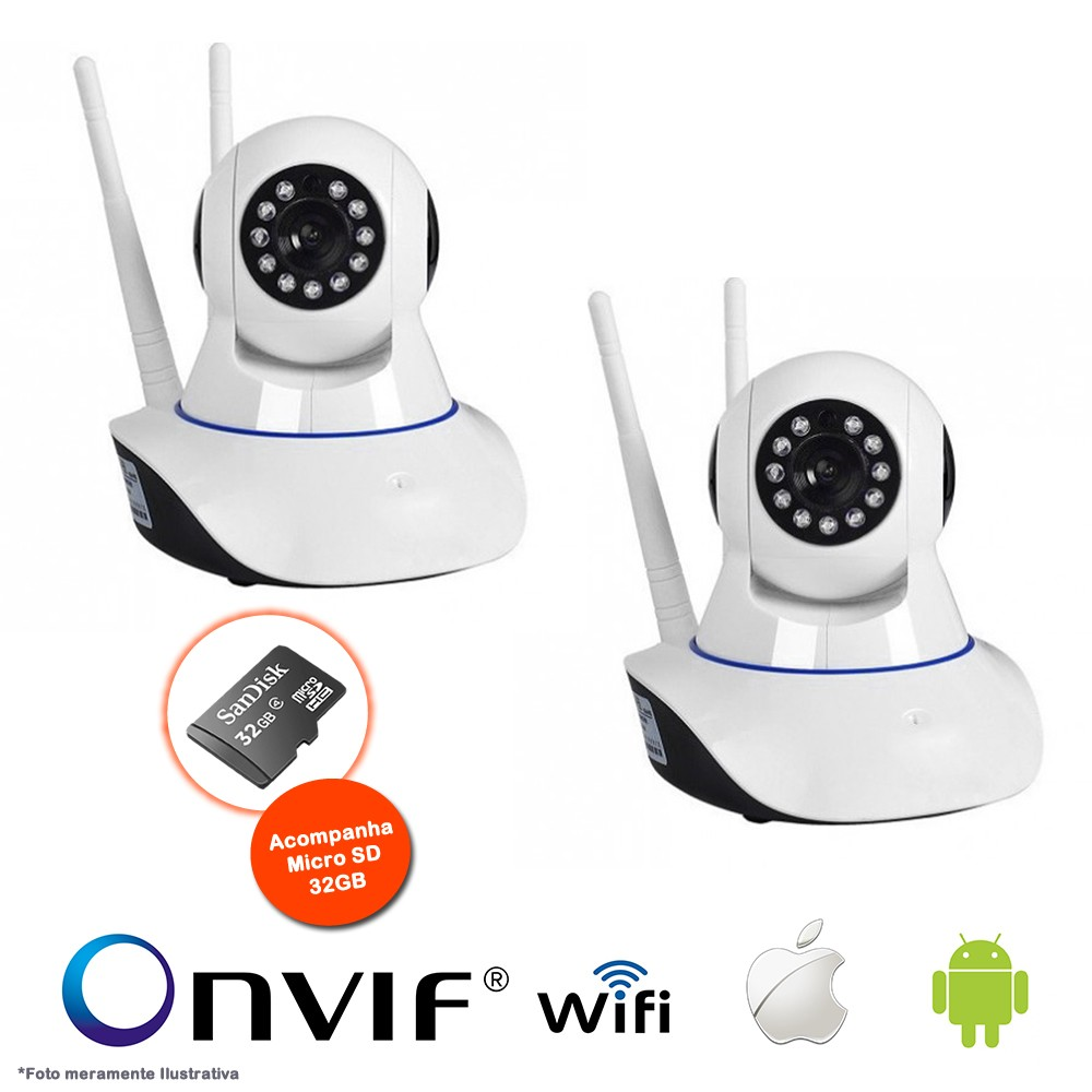 KIT 2 Câmeras IP Sem Fio Wifi HD 720p Robo, Grava em Cartão SD,Visão Noturna com Micro SD 32GB
