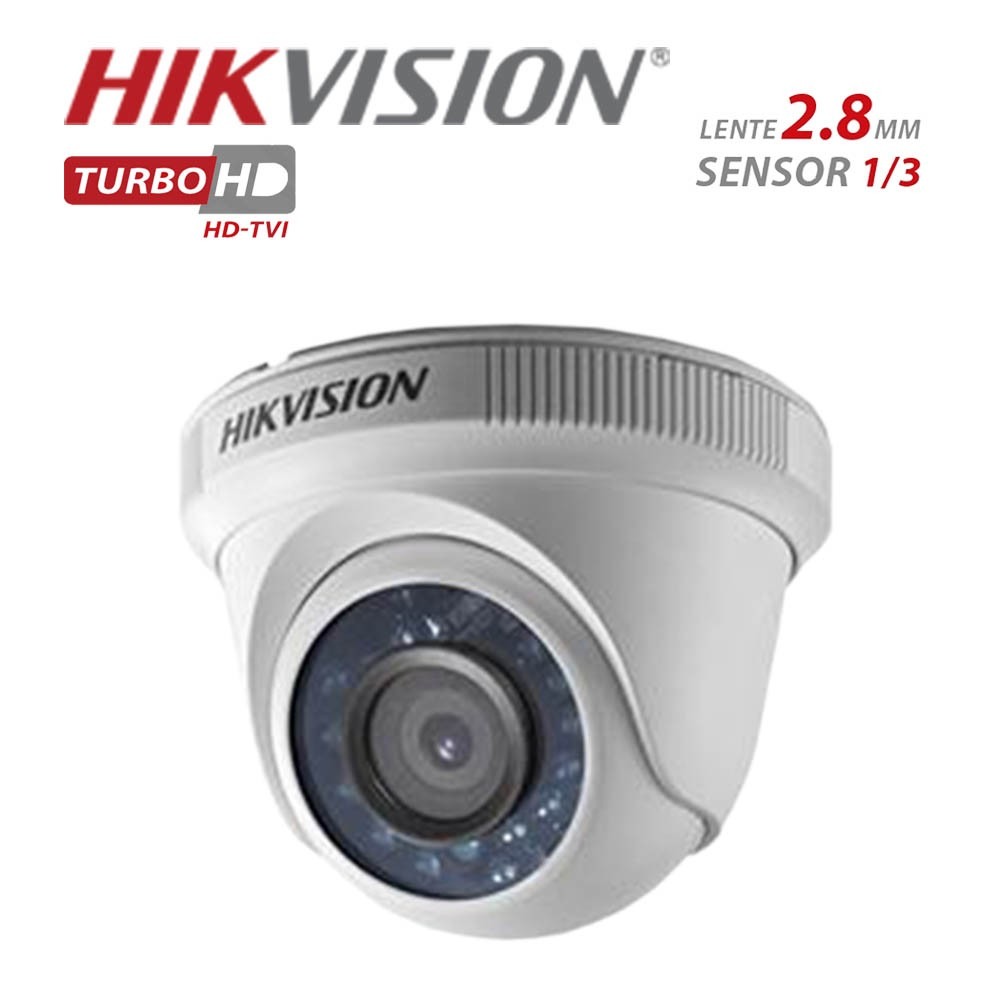 Camera Dome Infravermelho HIBRIDA Hikvison HD 720p DS-2CE56C0T-IRP 2,8MM