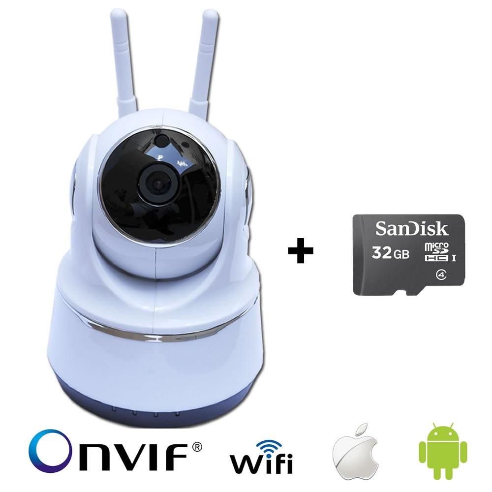 Câmera IP Robô WI-FI AHD 720p 1.0MP+ Cartão de Memoria 32GB