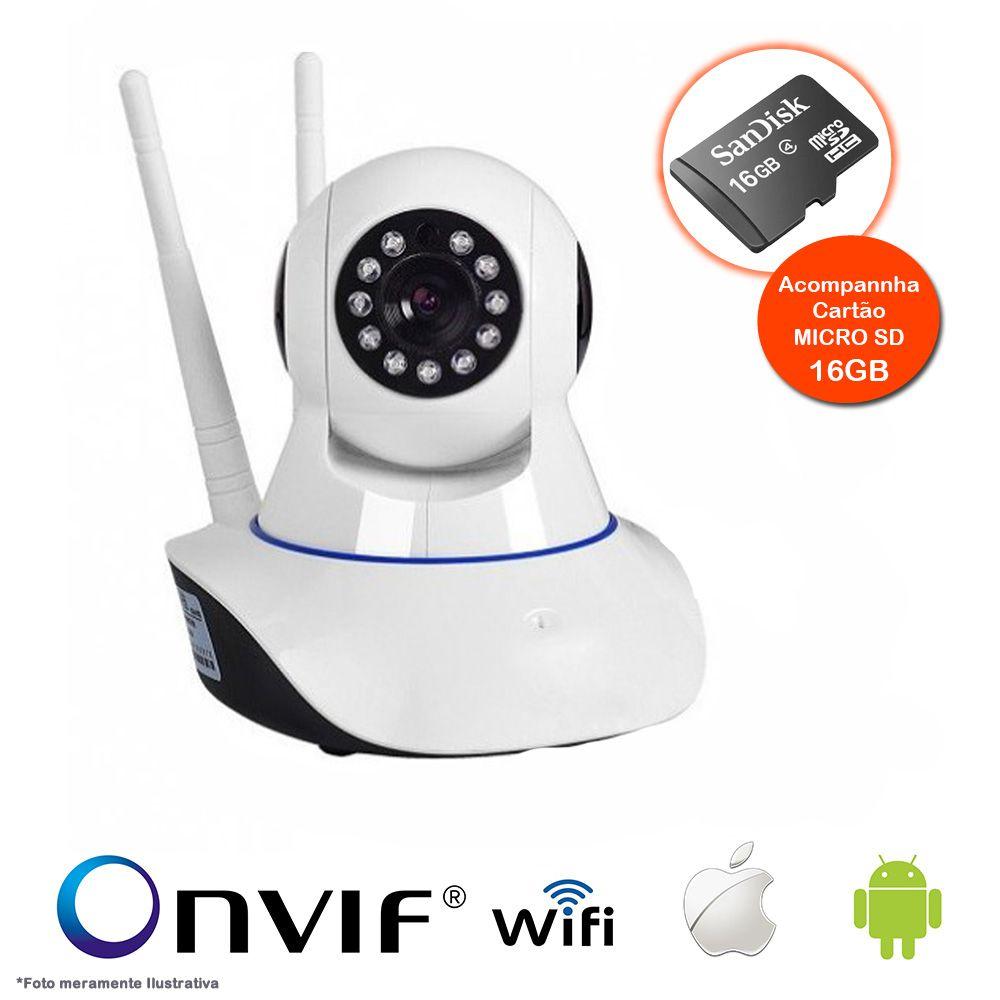 Câmera IP Sem Fio Wifi HD 720p Robo Wireless, Com áudio, Grava em Cartão SD, com 2 Antenas e Visão Noturna com Micro SD 16GB