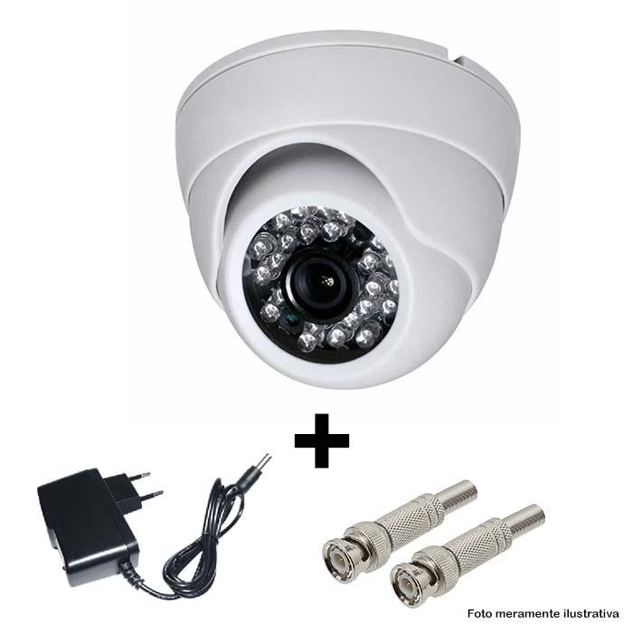 Câmera IR Dome CCD 1500 TVL 3,6mm + Fonte e Conector BNC