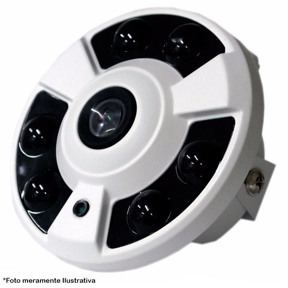 Camera Olho de Peixe 360° 1500 TVL 3,6MM 6 Leds