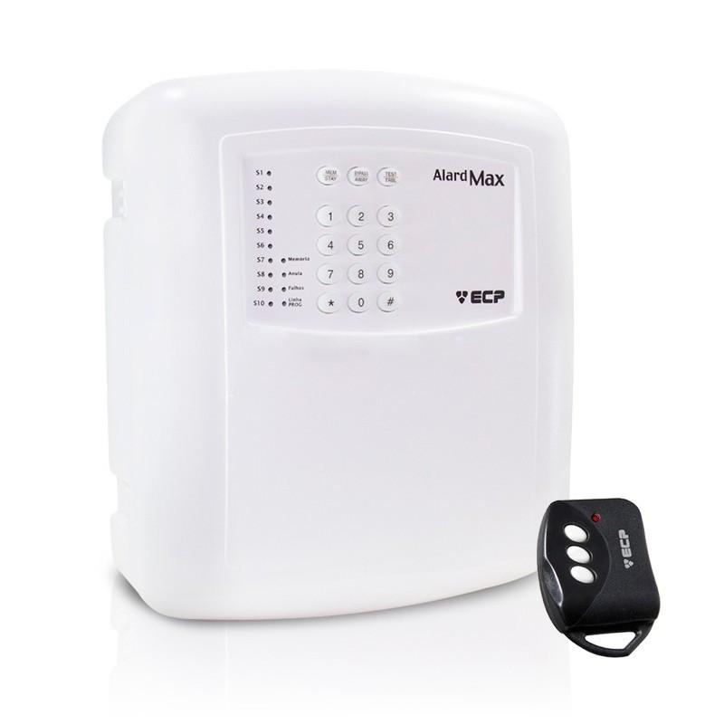 Central de Alarme Alard Max 4 ECP com 01 Controle Remoto, 4 SETORES Com e Sem Fio