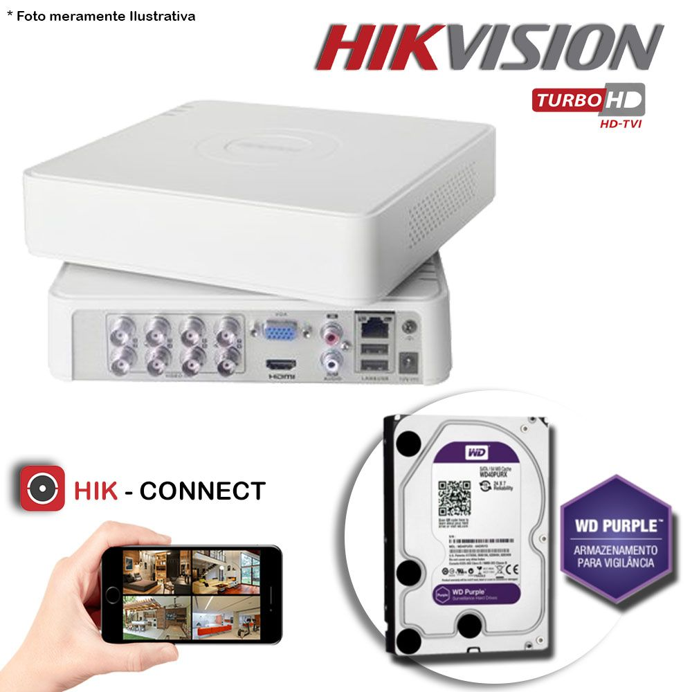 DVR Stand Alone Hikvision 08 Canais 720p Turbo HD + HD 1TB WD Purple de CFTV