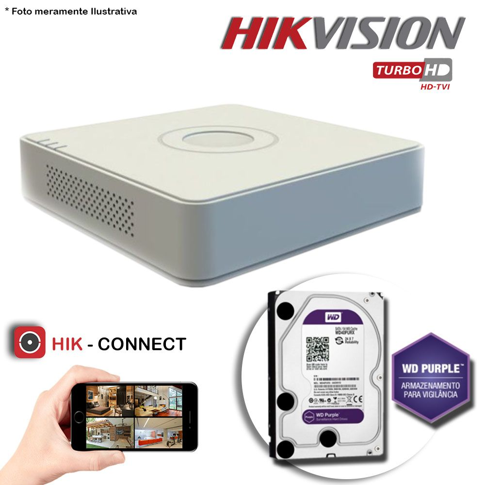 DVR Stand Alone Hikvision 16 Canais 720p Turbo HD + HD 2TB WD Purple de CFTV