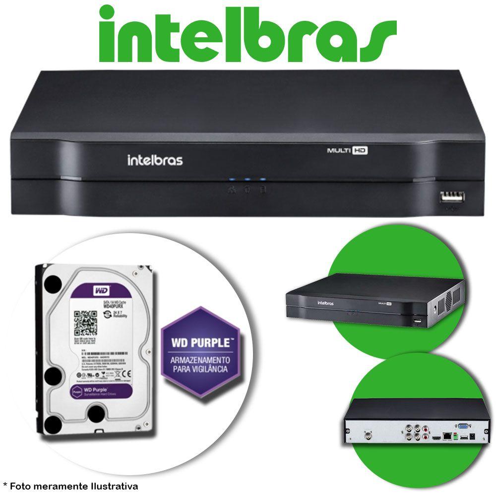 DVR Stand Alone Multi HD Intelbras MHDX-1004 4 Canais + HD 2TB WD Purple de CFTV