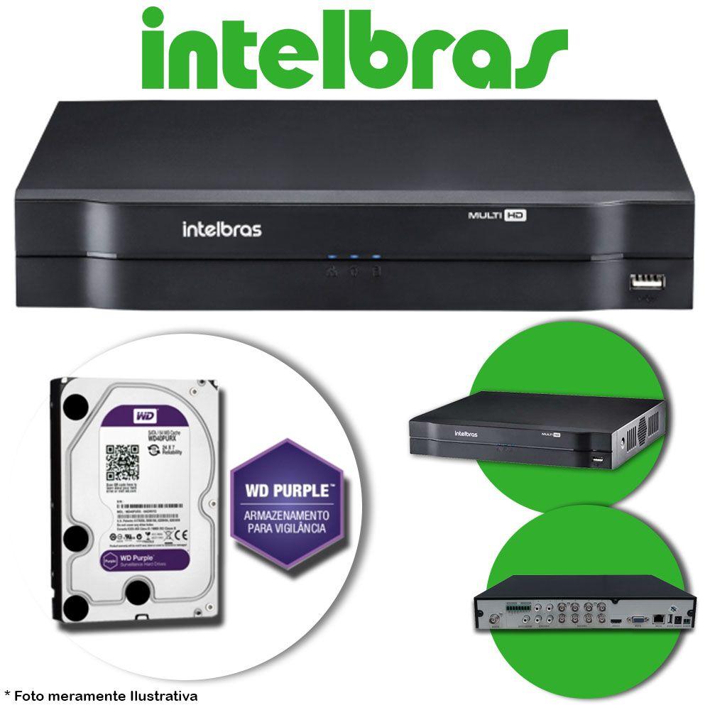 DVR Stand Alone Multi HD Intelbras MHDX-1008 8 Canais + HD 1TB WD Purple de CFTV