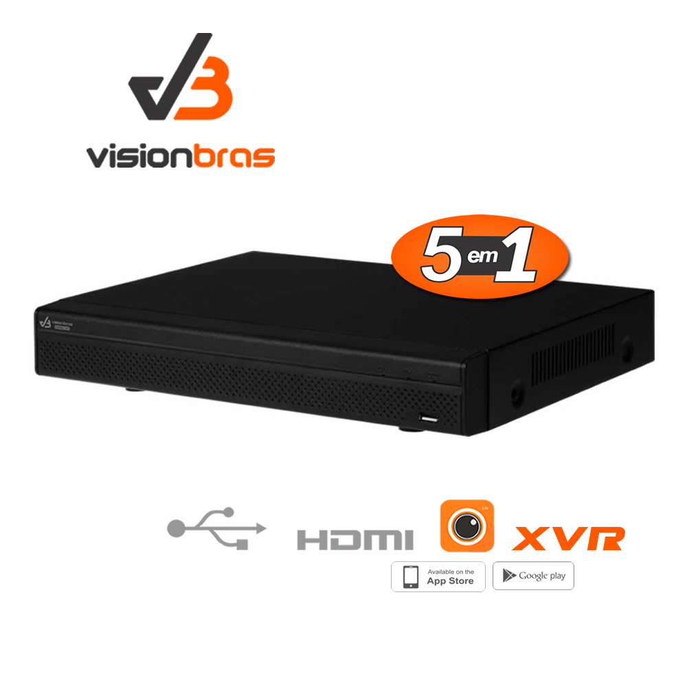 DVR Stand Alone VISIONBRAS XVR 5108  08 Canais 1080N ULTRAHD: HDCVI/HDTVI/AHD/ANALOGICO/IP