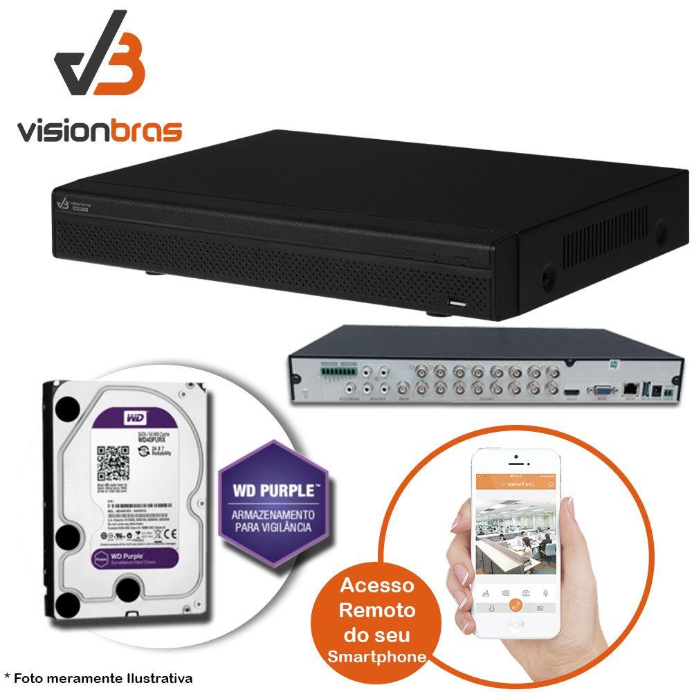 DVR UltraHD Visionbras XVR 4116 16 Canais 720P + HD 1TB WD Purple de CFTV